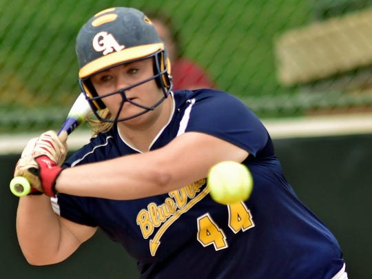 Greencastle-Antrim's Alicen Hoover bats against Donegal in the District 3 Class AAA championship on Thursday. The Blue Devils will take on Abington Heights in the opening round of the PIAA Tournament.
