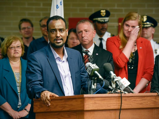 Haji Yusuf talks about the respect he has for St. Cloud State University President Earl H. Potter III during a press conference Tuesday, June 14, at St. Cloud State University.