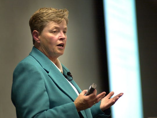 Then-Provost Lou Anna Simon speaking in 2003. Simon