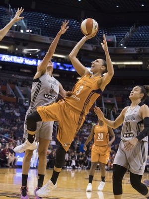 Phoenix Mercury Diana Taurasi (3) goes for a lay up against the San Antonio Stars during the first quarter on Sunday, July 30, 2017 at Talking Stick Resort Arena.