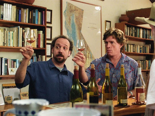 """Paul Giamatti and Thomas Haden Church sample a few choice vintages in the 2004 film """"Sideways,"""" which catapulted pinot noir into the spotlight."""