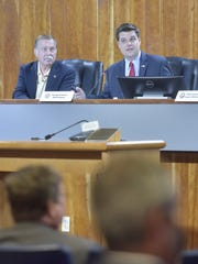 U.S. Rep. Matt Gaetz, R-Fort Walton Beach, holds a hearing about Whiting Field on Monday, July 30, 2018, at the Santa Rosa County Commission boardroom in Milton.