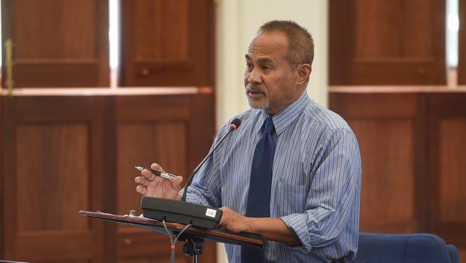 Sen. James V. Espaldon during a legislative session at the Guam Congress Building in Hagåtña on April 30, 2018.