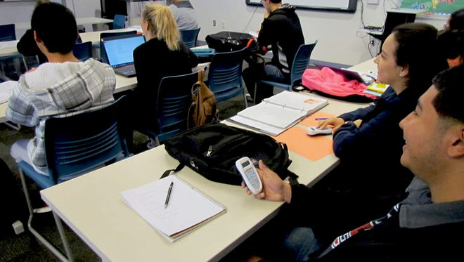 Doña Ana Community College students take an in-class health quiz.