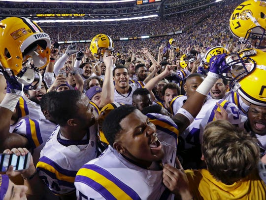 LSU, shown celebrating its 10-7 victory over Mississippi at Tiger Stadium Saturday night, could finish in a 5-way tie atop the Southeastern Conference West Division.