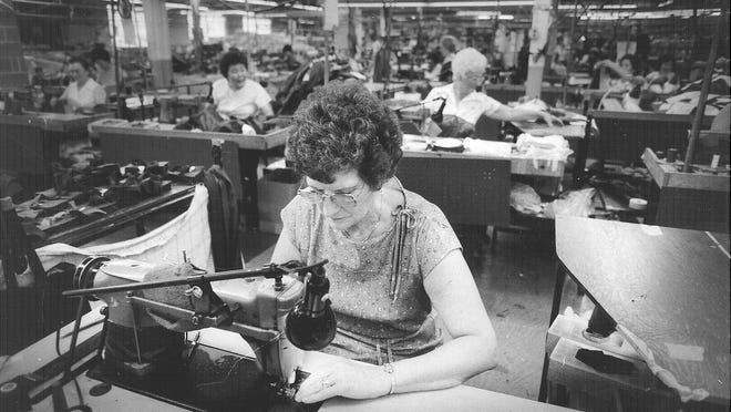 Above, Doris Scott was among the employees at Burlington Coat Factory decades ago. Hardworking folks in those industries are worth celebrating. Sure, journalists are working this Labor Day, but mostly in air-conditioned comfort. And Doris never got to sit next to Jim Walsh.