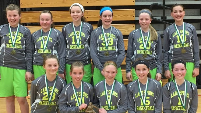 The Lady Spurs, a Horseheads based fifth- and sixth-grade girls basketball travel team, won two AAU tournaments. The Spurs went undefeated in Oswego at the La La Ponzi Tournament on March 12 and 13. They again went undefeated and won their division in the Cortland Shootout on March 19 and 20. Bottom row: Jordyn Robinson, Vanessa Stevens, Olivia Laney, Lydia Schooley, Carly Scott. Back: Sydnee Coss, Emma Romanski, Mickayla Gryska, Molly Wolf, Allison McLaughlin and Alexis Guzylak. Not pictured: coaches Mark Romanski and Greg Stevens.