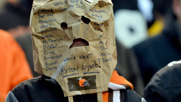 Jan 3, 2016; Cleveland, OH, USA; A Cleveland Browns fan displays the names of the quarterbacks since 1999 on a mask during the fourth quarter at FirstEnergy Stadium. The Steelers beat the Browns 28-12. Mandatory Credit: Ken Blaze-USA TODAY Sports usp