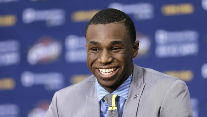 Cleveland Cavaliers' Andrew Wiggins answers questions during a news conference Friday, June 27, 2014, in Independence, Ohio.