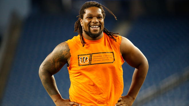 Cincinnati Bengals outside linebacker Vontaze Burfict (55) was smiling despite the workout he was doing prior to their game against the New England Patriots at Gillette Stadium.