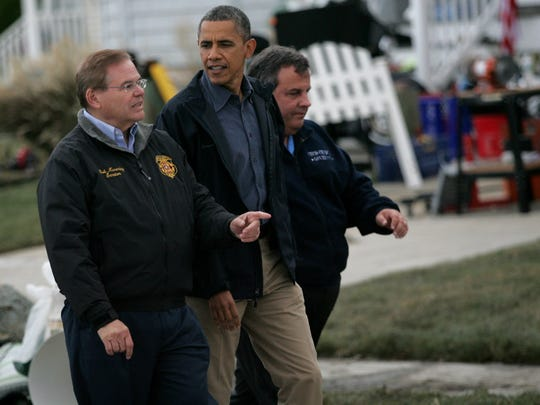 Sen. Menendez, President Obama and Gov. Christie walked down East Shore Dr. in Bergentine on Wednesday, Oct. 31, 2012, where they met residents and surveyed damage done by Hurricane Sandy.