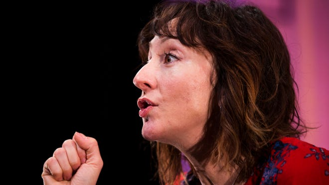 "Tony Award nominated actress, Carmen Cusack runs through a scene during rehearsal for the one-woman play, ""Do This"", on Tuesday, January 3, 2017 at the Gulfshore Playhouse in downtown Naples. The play, written by Karen Siff Exkorn, is about her learning to deal with the life faced by her young autistic son. The play runs from January 7th through the 28th."