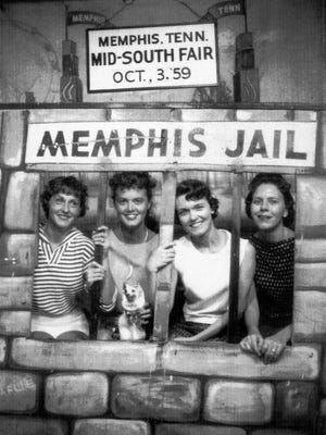 October 3, 1959 - Friends (from left) Loy Acerra Crane of Jackson, Tennessee; Anita Specner Collins, Mary Helen Sartain and Norma Farris, all of Memphis, enjoy a day together at the Mid-South Fair on October 3, 1959. (Photo courtesy of Anita Collins)