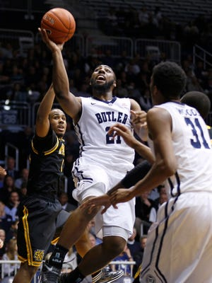 Butler's Roosevelt Jones shoots against Kennesaw State in the first half of the game at Hinkle Fieldhouse Monday December 8, 2014.