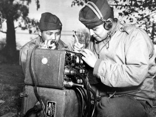 Navajo Code Talkers during World War II.