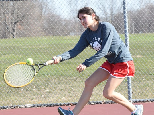 Francesca Spailleri chases down a shot Saturday.