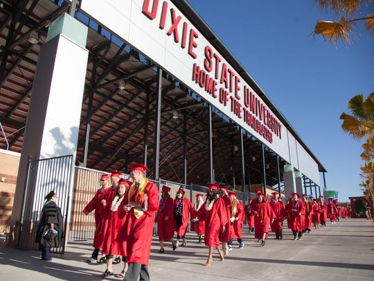 DSU graduates participate in the 107th commencement ceremony at Trailblazer Stadium Friday, May 4th, 2018.