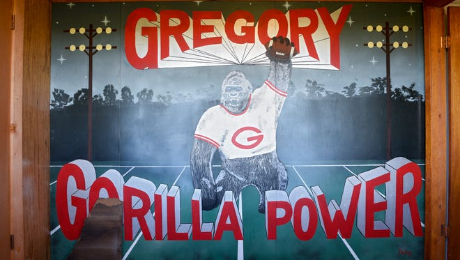 """A """"Gorilla Power"""" mural adorns a wall in the Gregory press box before the first half of their high school football game on Friday, Oct. 19, 2017 in Gregory."""