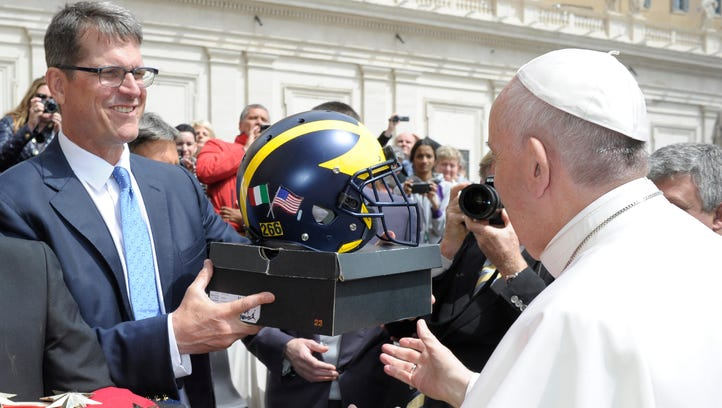 UM's Harbaugh meets Pope Francis: 'It was beautiful'