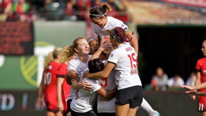 Flash forward Lynn Williams celebrates scoring the first overtime of Sunday's NWSL semifinal in Portland, Oregon. No. 4 seed WNY upset the top-seeded Thorns 4-3 in double overtime to reach Sunday's championship match in Houston against No. 2 Washington.