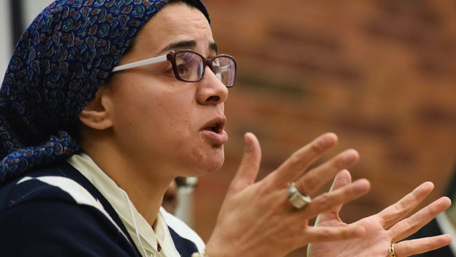 Musheera Anis Abdellatif shares her thoughts during a SD forum protecting Arab, Muslim, Sikh and South Asian communities at the Sioux Falls Library in downtown Sioux Falls on Thursday. The discussion involved responding to hate and bias crimes targeted against these groups.