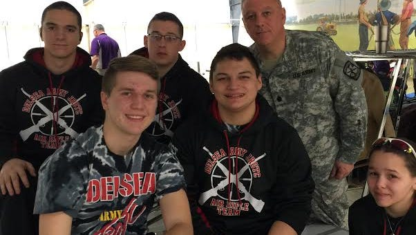 (From left) John Dell'Angelo, Jimmy Kelly, John Schwartz, Christian Pineda, Lt. Col. (retired) Al Flood and Kaylee Smallets recently represented Delsea Regional High School at the Civilian Marksmanship Program JROTC Service National Air Rifle Competition at Camp Perry, Ohio.