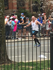 Gary Laird, a 58-year-old Hanover resident, passes the 25th mile of the Boston Marathon on April 17, 2017
