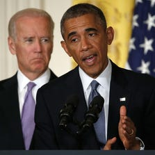"""WASHINGTON, DC - SEPTEMBER 19:  U.S. President Barack Obama (R) speaks, with Vice President Joe Biden (L) behind him, at the launch of the """"It's On Us"""" campaign, a public awareness campaign to help prevent campus sexual assault, during an event at the White House September 19, 2014 in Washington, DC. The campaign is a result of efforts by the White House Task Force to Protect Students from Sexual Assault and to bring greater attention to the issue. (Photo by Win McNamee/Getty Images)"""