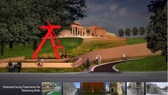 An early rendering of what the new entrance to the Cincinnati Art Museum could look like, created by the companies Emersion Design, Human Nature and Strand Associates. The pictures at the bottom are concept ideas for the retaining wall and landscaping.