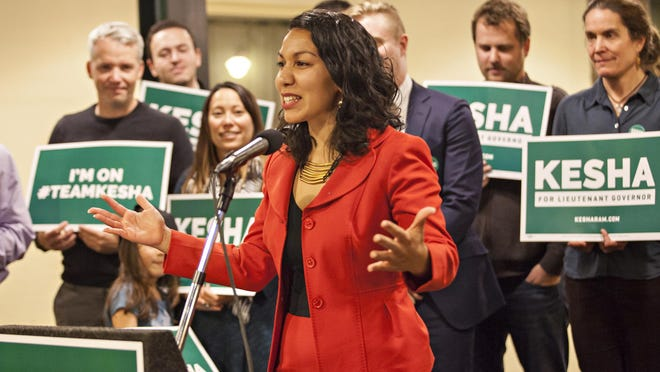 State Rep. Kesha Ram, D-Burlington, launches her campaign for lieutenant governor Monday evening at One Main Street in Burlington.