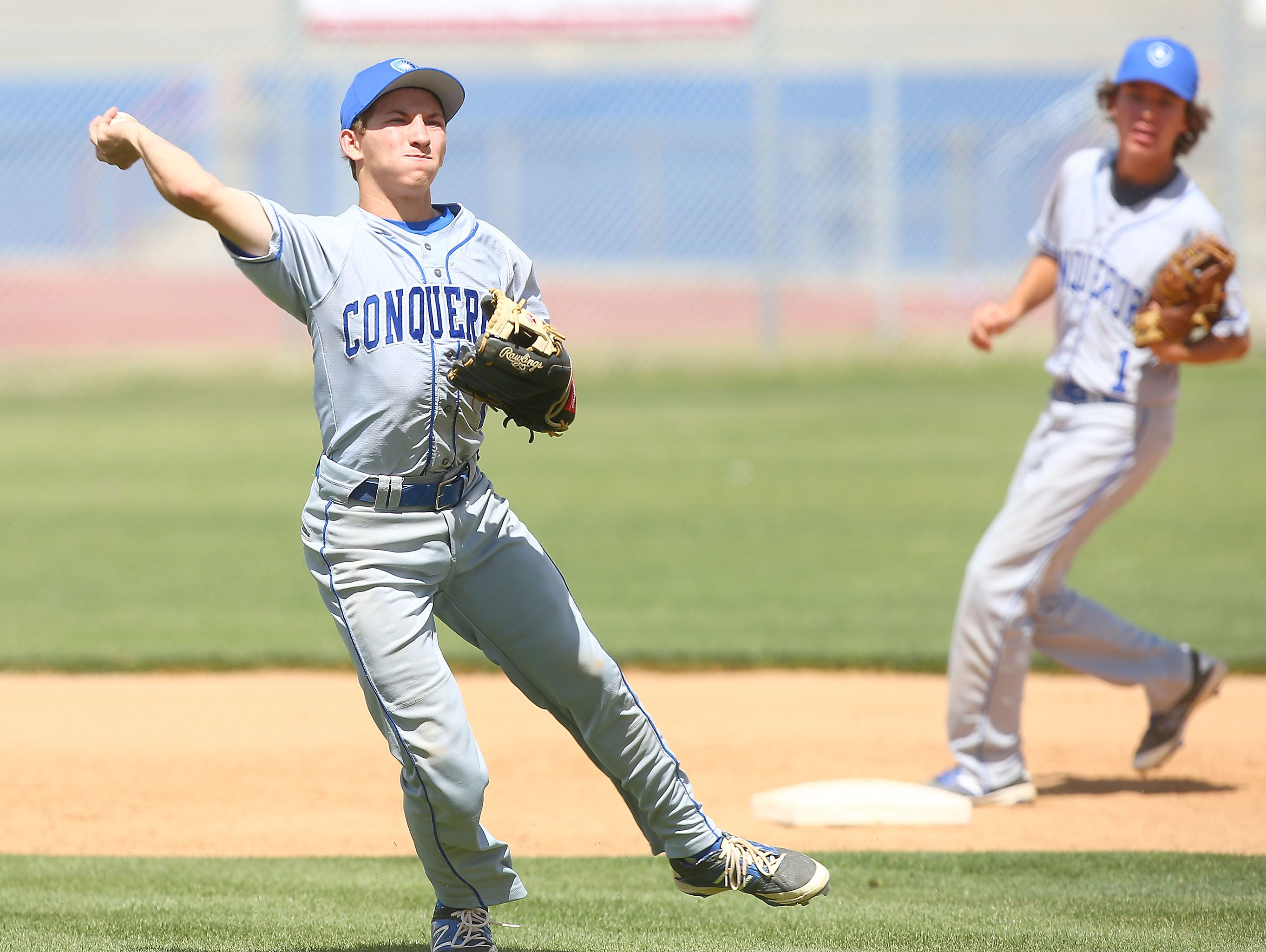 Brandon Bolton makes an infield out for Desert Christian Academy during their game against Indio, March 28, 2016.