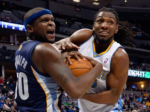 Memphis Grizzlies forward Zach Randolph (50) and Denver