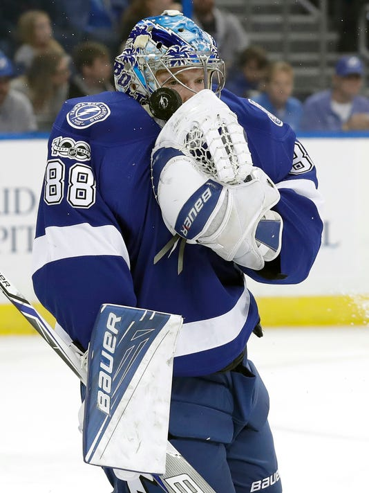 Tampa Bay Lightning goalie Andrei Vasilevskiy, of Russia, stops a shot by the Ottawa Senators during the first period of an NHL hockey game Thursday, Feb. 2, 2017, in Tampa, Fla. (AP Photo/Chris O'Meara)