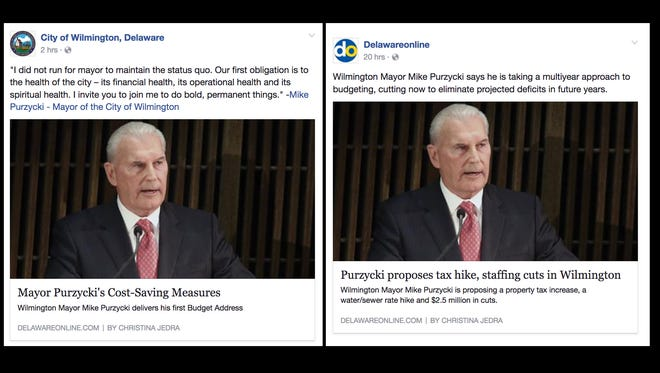 The City of Wilmington's Facebook page post of a DelawareOnline story (left) and the original Facebook posting.