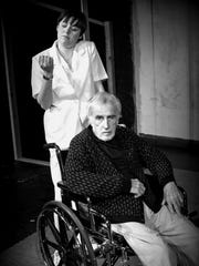"""Rachel Blithe (left) and Patrick Erhardt in a scene from Lab Theater's """"Wings"""""""