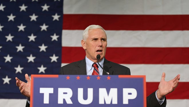 Indiana Gov. Mike Pence, the Republican nominee for vice president, spoke Sept. 30, 2016, at the Allen County War Memorial Coliseum in Fort Wayne.