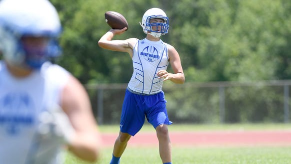 Brevard's Mitchell Johnson throws a pass during the