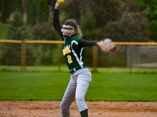 Pennfield's Alexa Stephenson throws a strike during an All-City game against Harper Creek earlier this season.