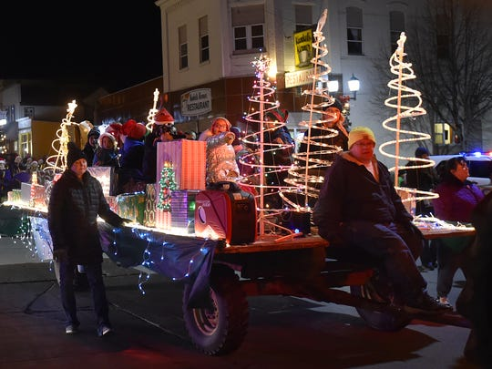The Holiday Lights Parade marches along Ellis Street in downtown Kewaunee during a previous Christkindlmarkt weekend celebration. This year's parade takes place at 6:30 p.m. Nov. 16, with Christkindlmarkt running Nov. 16 and 17.