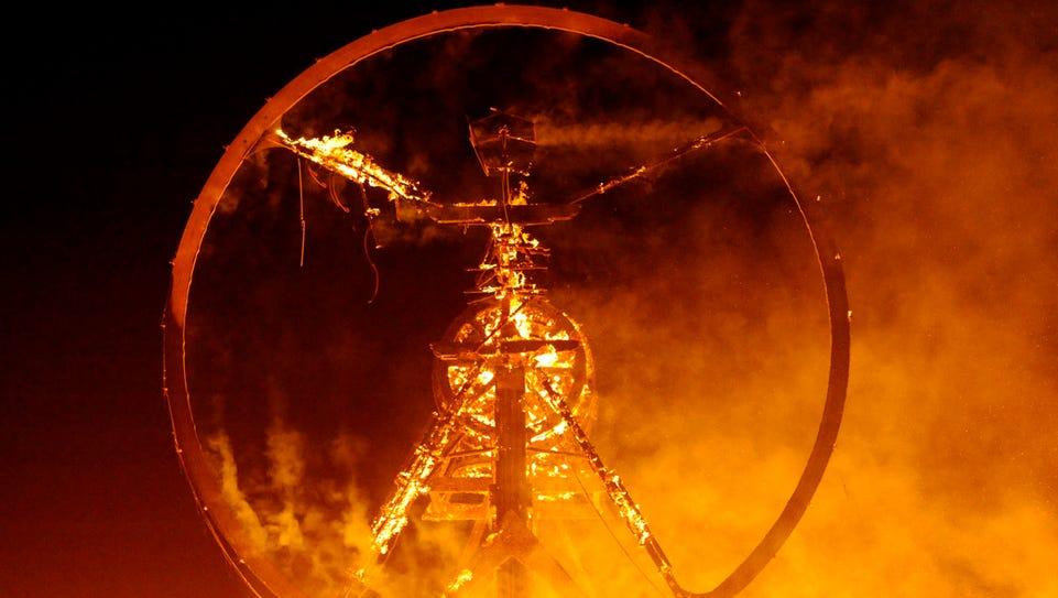 Images from Saturday night's burn at Burning Man on