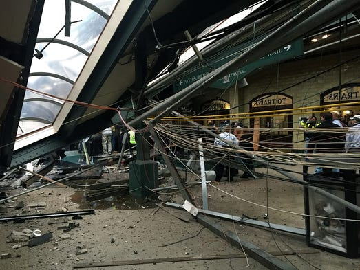 The roof collapse after a NJ Transit train crashed