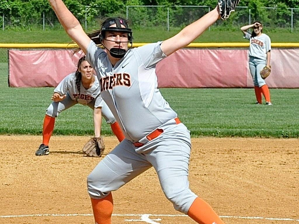 Tuckahoe's Cassie McGrath prepares to release pitch against Chester during Class C state regional semifinal at Rhinebeck High School Thursday.