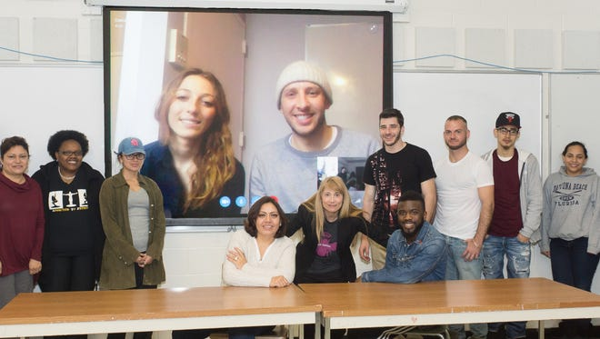Bombas CEO Dave Heath, at right on screen, recently shared his knowledge and experience with Kean University professor Valerie Vaccaro and her social entrepreneurship class via Skype. He is pictured with Special Projects Manager Morgan Cummings, a Kean student of Vaccaro whose Bombas internship turned into a full-time job.