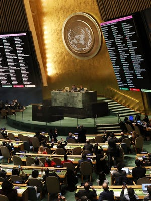 """The voting results are displayed on the floor of the United Nations General Assembly in which the United States declaration of Jerusalem as Israel's capital was declared """"null and void"""" on Dec. 21, 2017 in New York City."""