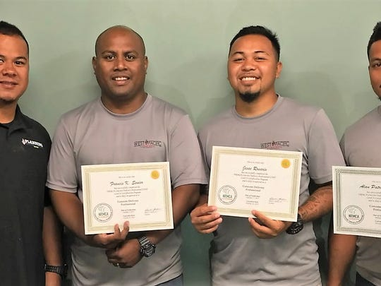 Honoring Guam's very first NRMCA Level II Concrete Delivery Professionals recognized nationwide. Pictured from left: General Manager- Robert Santos, Fleet Supervisor/Dispatcher/CDP- Francis Senior, CDP/Dispatcher- Jesse Rosario, CDP- Alan Blaz of Business: West Pacific Concrete in Yigo.