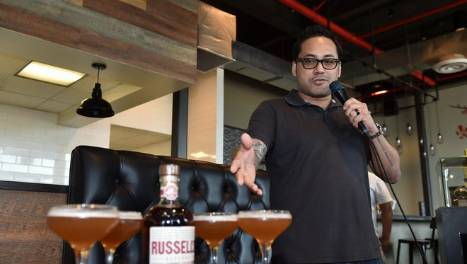 Crave Group Restaurants President Brian Artero talks about the Scofflaw Cocktail at Crust Pizzeria Napoletana in Hagåtña on Feb. 27, 2017.