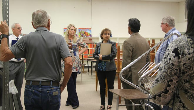 Carlsbad Municipal School administrators and board members met on Monday to discuss steps for selling supplies and equipment from four elementary schools that closed last year. The schools closed after they were replaced with two new schools, Ocotillo and Desert Willow Elementary.
