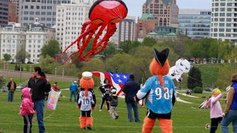 Hundreds of kite flying enthusiasts gathered at Veterans Park for the 26th annual Family Kite Festival, Saturday, May 25, 2013.