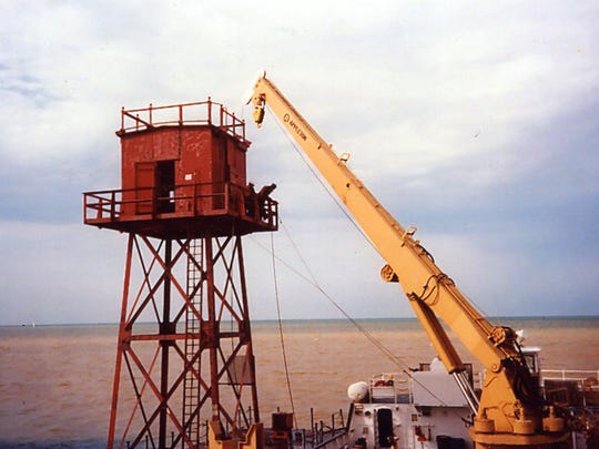 The red steel tower was removed in 1994.