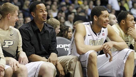 Purdue freshman Vince Edwards (center) missed his first